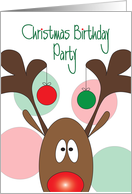 Christmas Birthday Party Invitation, Reindeer with Antler Ornaments card