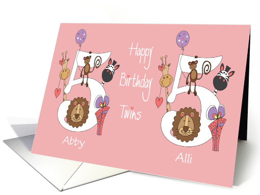 Birthday 5 Year Old Girl Twins, Personalized with Zoo Animals card