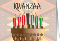 Kwanzaa with Candle-Filled Kinara, Red, Green & Black Candles card