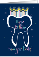 Birthday from Dentist to Patient, Sparkling Tooth with Candles card