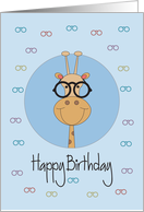 Birthday from Eye Doctor to Patient, Giraffe with Eyeglasses card