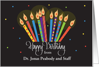Hand Lettered Birthday from Doctor to Patient, flaring bright candles card