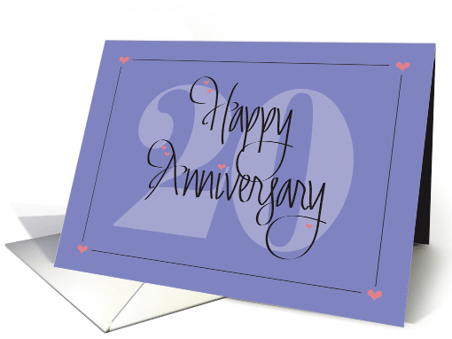 20th Anniversary for Spouse, Calligraphy with Large Number 20 card