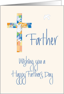 Father's Day for Catholic Priest, Stained Glass Cross with Dove card