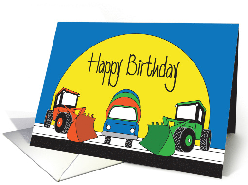 Birthday for Kids, For Boy with Colorful Construction Equipment card