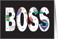 Boss's Day, Large Bold Letters Filled with Work Images & Balloons card