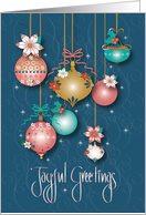 Hand Lettered Christmas Merry & Bright Ornaments with Curly Bows card