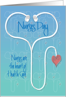 Hand Lettered Nurses Day Stethoscope & Heart, Heart of Health Care card
