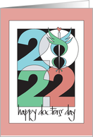 Hand lettered Doctors' Day for Female Doctor, Stethoscope & Heart card