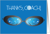 Thanks for Swimming Coach, Swim Goggles with Pool Scene card