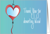Hand Lettered Thank you for donating blood, with heart-shaped bag card