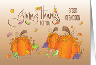 Thanksgiving Thankful for you Great Grandson, with Fall Leaves card