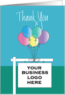 Thank you from realtor, custom realtor sign with colorful balloons card