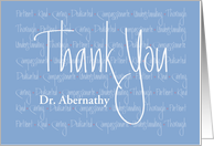 Hand Lettered Thank You to Doctor, Character Words & Custom Name card