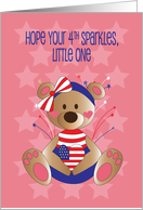 Sparkling Fourth of July for Kids, Little Girl Bear in Stars & Stripes card
