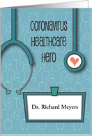 Thank You Doctor and Nurse Coronavirus Healthcare Hero Name Tag card
