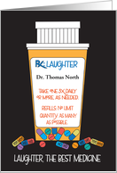 Doctors' Day Custom Name Laughter is the Best Medicine Pill Bottle card
