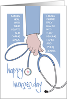 Nurses Day for Male Nurse with Hand Holding Stethoscope with Heart card