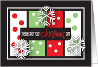 Christmas gift Thank You, Green with red polka dots card