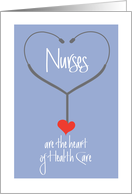 Hand Lettered Nurses Day Card, Nurses are the heart of Health Care card