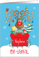 Christmas for Nephew, Be Joyful Reindeer in Sleigh with Ornaments card