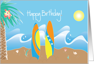 Happy Birthday for Surfer with beach, surfboards & waves card