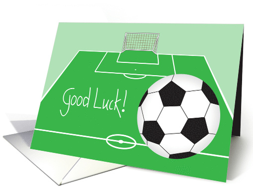 Good Luck For Soccer Player With Soccer Ball And Court