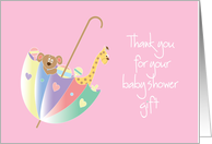 Baby Shower Thank you for girl with toy filled umbrella card