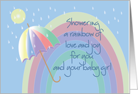 Hand Lettered Congratulations for new baby girl, umbrella & rainbow card