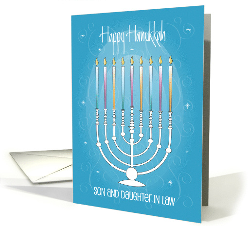 Happy Chanukah for Son and Wife with Menorah card (999919)