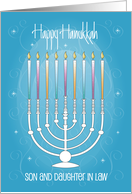 Happy Chanukah for Son and Wife with Menorah card