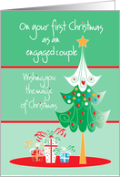 first christmas for an engaged couple with tree and gifts card