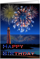 Happy Birthday on Independence Day Fireworks on the Ocean card