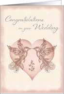 Wedding Congratulations - Paisley Lovebirds and Heart card