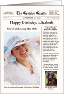 Newspaper Style with Dog - Customizable Text and Photo Birthday card