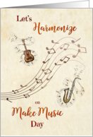 Musical Instruments and Notes Make Music Day card