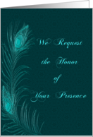 Peacock Feather Wedding Invitation in Teal card