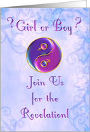 Baby Gender Reveal Party Invitation Yin-Yang in Purples card