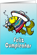 Feliz Cumpleaños Felicidades Spanish Mexican Fish fun Birthday wishes card