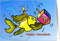 Happy Hanukkah Chanuka Sparky Yellow fun Fish Comic Drawing card