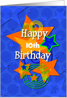 Happy Birthday Personalize Age for Boy Colorful Stars and Swirls card