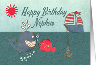 Happy Birthday Nephew Cute Whale and Fish with Boat card