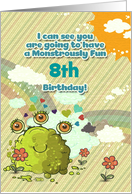 Happy Birthday Age Specific Girly Cute 3 Eye Monster Rainbow card