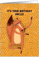 Happy Birthday Uncle Dancing Fox with Mustache Humorous card