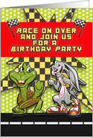 Birthday Party Invitation for Children Race Themed Rabbit and Turtle card