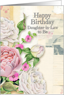 Happy Birthday Daughter-in-Law to Be Vintage Look Flowers & Paper card