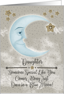 Happy Birthday Daughter Blue Crescent Moon and Stars card