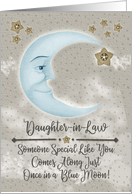 Happy Birthday Daughter-in-Law Blue Crescent Moon and Stars card