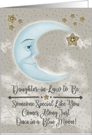 Happy Birthday Daughter-in-Law to Be Blue Crescent Moon and Stars card