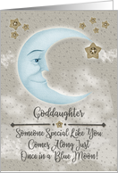 Happy Birthday Goddaughter Blue Crescent Moon and Stars card